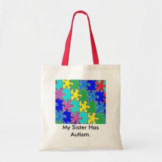 autism puzzle pieces 40 tote bag