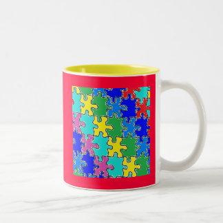 autism puzzle pieces 40 Two-Tone coffee mug