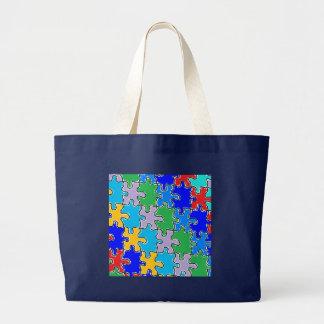 autism puzzle pieces 41 large tote bag