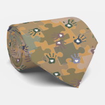 Autism Puzzle Pieces and Hands Gold and Green Tie
