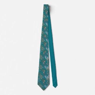 Autism Puzzle Pieces and Hands Teal Blue Neck Tie