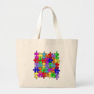 Autism Puzzle Pieces Large Tote Bag