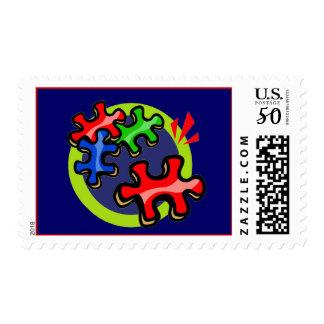 Autism Puzzle Pieces Stamps