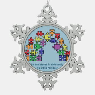 Autism Puzzle Rainbow Snowflake Ornament
