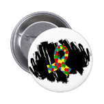 Autism Puzzle Ribbon 1.1 With Scribble Pinback Button