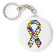 Autism Puzzle Ribbon Keychain
