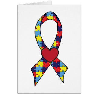 Autism Puzzle Ribbon with Heart Notecard