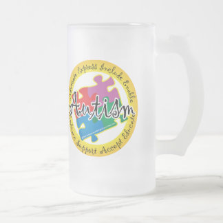 Autism Puzzle Ring Frosted Glass Beer Mug
