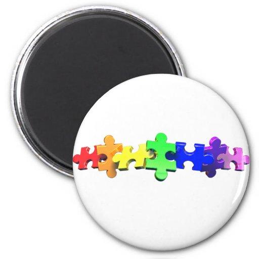 Autism Puzzle Strip 2 Inch Round Magnet