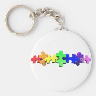 Autism Puzzle Strip Basic Round Button Keychain