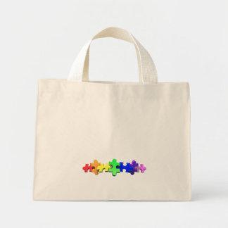 Autism Puzzle Strip Mini Tote Bag