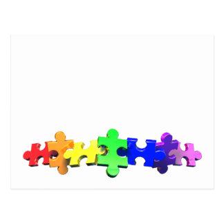 Autism Puzzle Strip Postcard