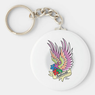 Autism Puzzle Wings Keychain