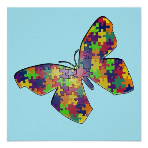 Autism Awareness Art Posters Framed Artwork: Autism Puzzlefly Poster