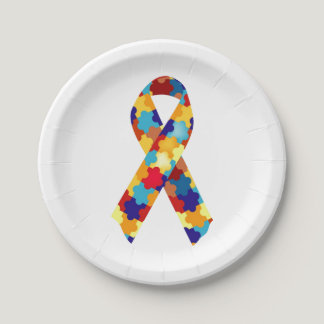 Autism Puzzles Paper Plate
