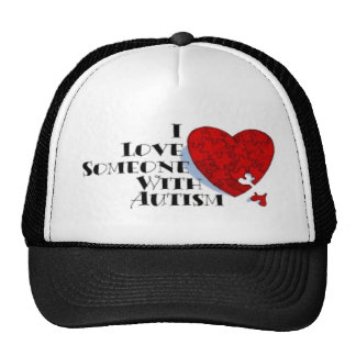 Autism: Red Puzzle Heart Cap Mesh Hat