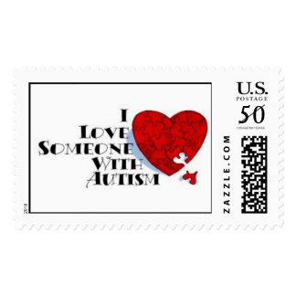 Autism Red Puzzle Heart Postage
