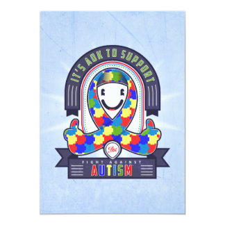 "Autism - Retro Charity Ribbon - Invitation 5"" X 7"" Invitation Card"