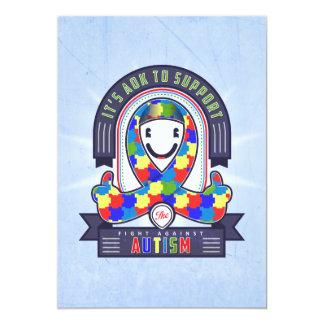 Autism - Retro Charity Ribbon - Invitation