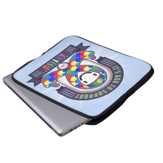 Autism - Retro Charity Ribbon - Laptop Sleeve
