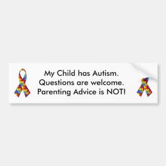 autism_ribbon, autism_ribbon, My Child has Auti... Bumper Sticker