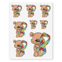 Autism Ribbon Awareness Bear Temporary Tattoos