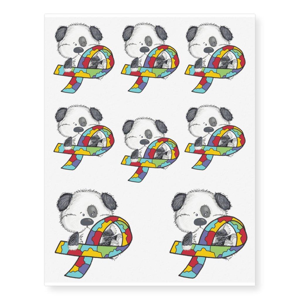 Autism Ribbon Awareness Dog Temporary Tattoos
