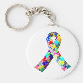 Autism Ribbon Basic Round Button Keychain