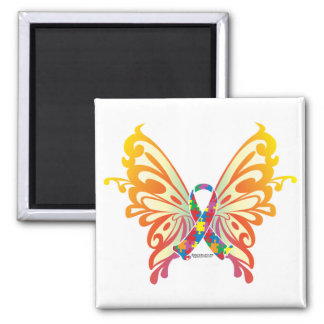 Autism Ribbon Butterfly 2 Inch Square Magnet
