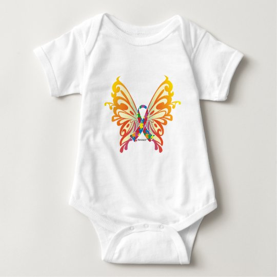 Autism Ribbon Butterfly Baby Bodysuit