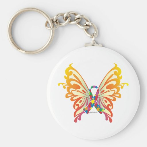 Autism Ribbon Butterfly Keychain