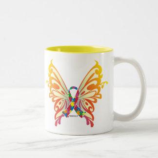 Autism Ribbon Butterfly Two-Tone Coffee Mug