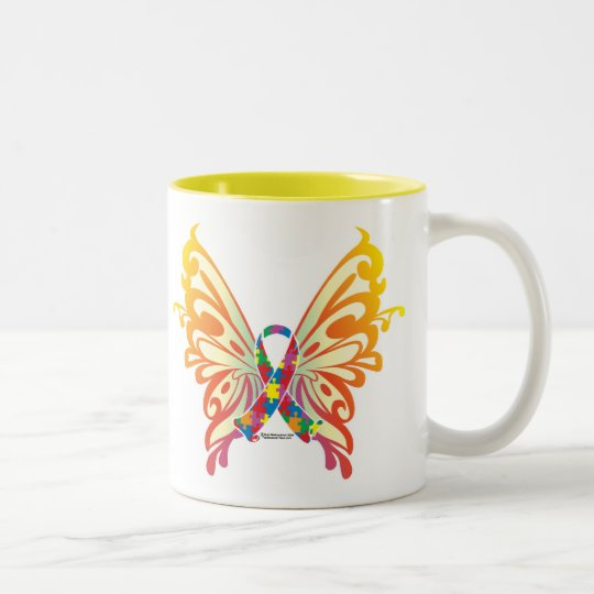 Autism Ribbon Butterfly Two-Tone Coffee Mug