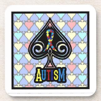 Autism Ribbon - Coaster Set - Spades Edition