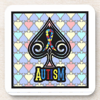 Autism Ribbon - Coaster Set - Spades Edition