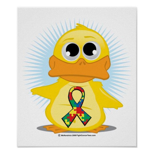 Autism Ribbon Duck Poster