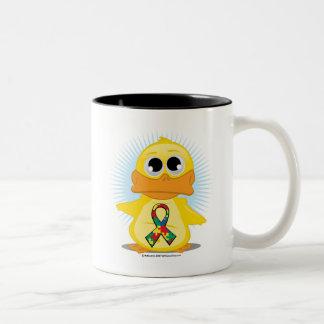 Autism Ribbon Duck Two-Tone Coffee Mug