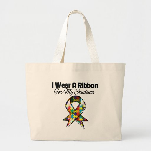 Autism Ribbon For My Students Jumbo Tote Bag