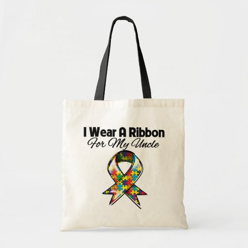 Autism Ribbon For My Uncle Budget Tote Bag