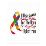 Autism Ribbon Hero in My Life My Best Friend Postcard