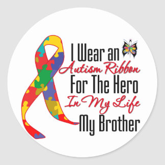 Autism Ribbon Hero in My Life My Brother Sticker