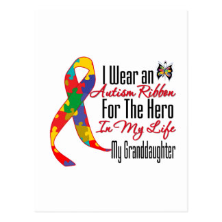 Autism Ribbon Hero in My Life My Granddaughter Post Card