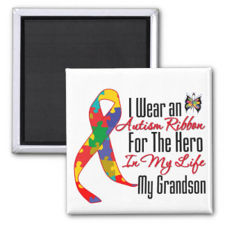 Autism Ribbon Hero in My Life My Grandson 2 Inch Square Magnet