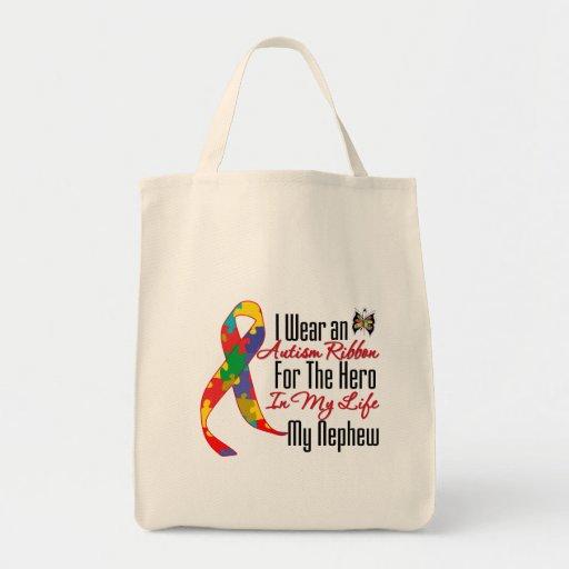 Autism Ribbon Hero in My Life My Nephew Grocery Tote Bag