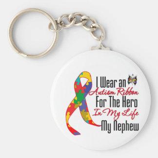 Autism Ribbon Hero in My Life My Nephew Basic Round Button Keychain