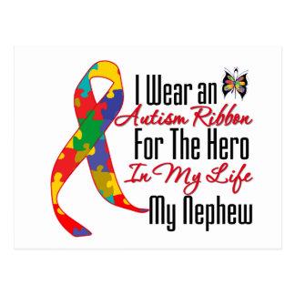 Autism Ribbon Hero in My Life My Nephew Postcard