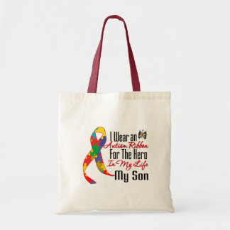 Autism Ribbon Hero in My Life My Son Canvas Bags