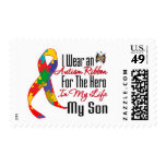 Autism Ribbon Hero in My Life My Son Stamp
