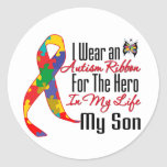 Autism Ribbon Hero in My Life My Son Classic Round Sticker