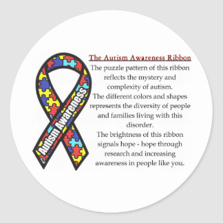 Autism Ribbon meaning Classic Round Sticker